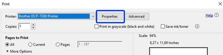 printer properties