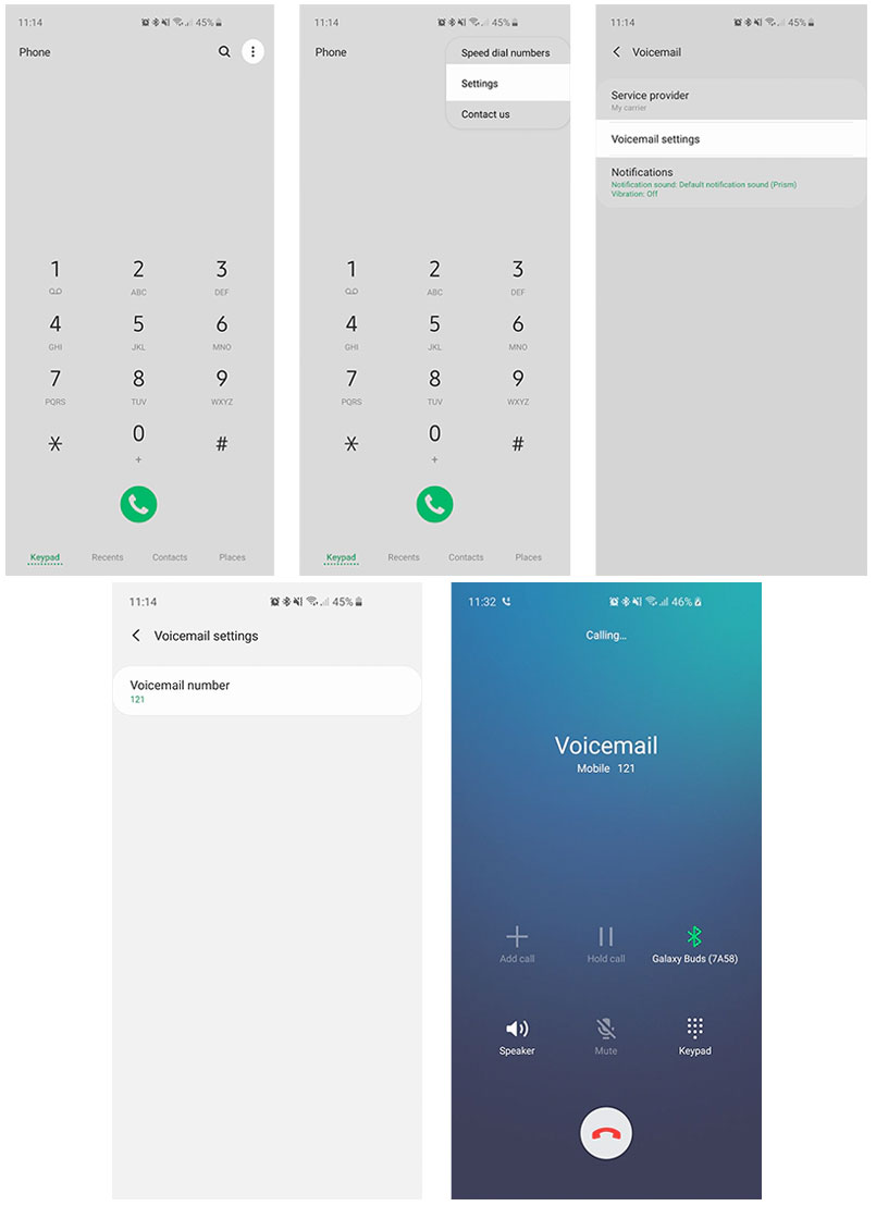 setup voicemail number-galaxy s21