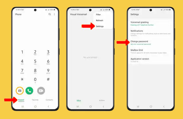 change voicemail password galaxy s21